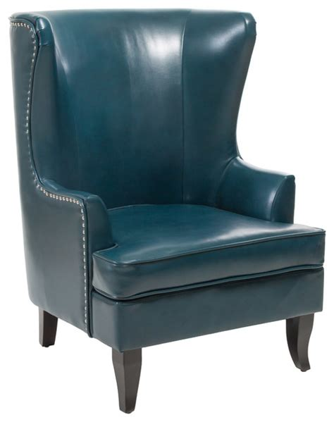 blue leather armchair jameson wingback leather club chair teal blue contemporary armchairs and accent