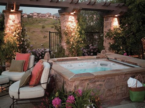 jacuzzi in backyard patio landscaping ideas back yard with hot tub patio