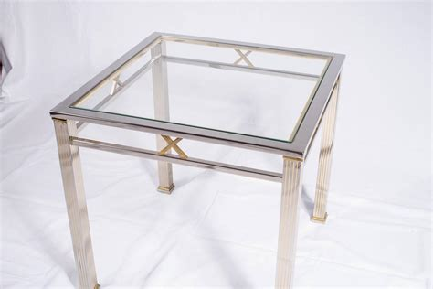 chrome and glass side table by belgochrome at 1stdibs