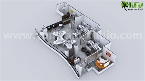 3d Office Floor Plan by Yantram Studio Creative Modern 3d Office Floor Plan
