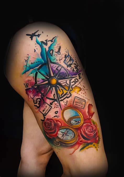 watercolor tattoos oklahoma to travel ink tattoos compass