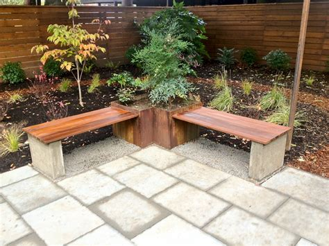 Steel Planter, Hardwood Bench   Architectural Paver Patio