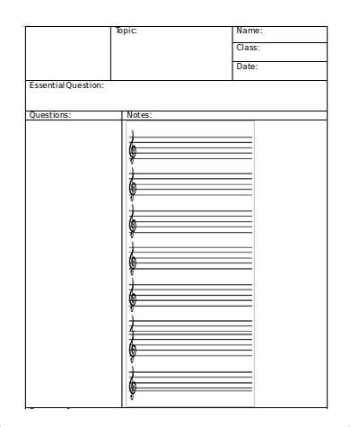 sample cornell note template  word  examples  word