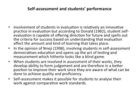 Critical Self Assessment Mba by A Critical Analysis Of Student S Self Assessment And