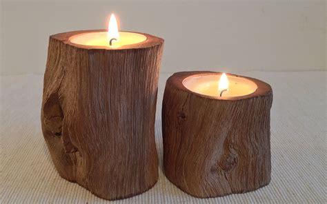 Pillar Tealight Candle Holders Oak Pillar Rustic Wood Tealight Candle Holder 2