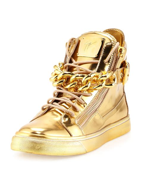 mens gold sneakers giuseppe zanotti mens metallic chain zipper high top