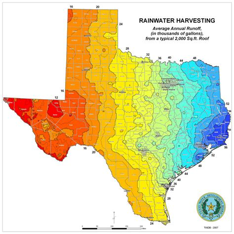 texas precipitation map innovative water technologies rainwater volumes from roof runoff texas water development board