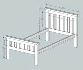 Simple Bed Frame Plans White Simple 2x4 Misson Style Bed Diy Projects