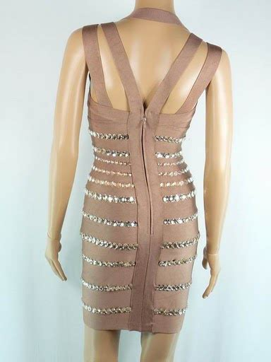 In Nicola Closet Herve Leger by Nicola Mclean Dress Herve Leger Chagne Decorated