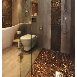 penny tile bathroom ideas penny flooring and wall panel love copper in bathrooms