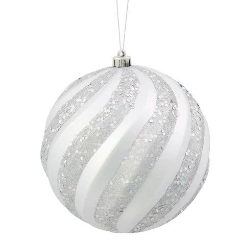 6 inch matte glitter swirl christmas ball ornament silver