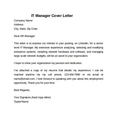 sample information technology cover letter