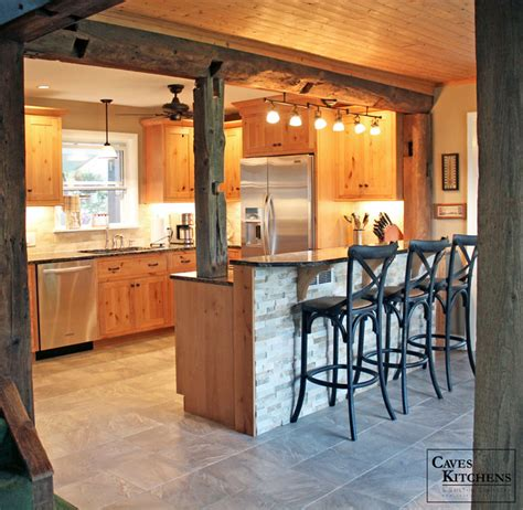 Rustic Knotty Alder Kitchen with Weathered Beams   Rustic
