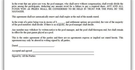 Agreement Letter For Lottery Pool Free Printable Lottery Pool Agreement Forms Free Forms