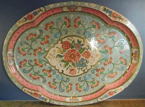 large shabby chic metal tray  floral design england