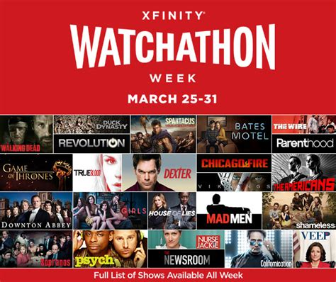 Watchathon Sweepstakes - xfinity watchathon week all access pass to watch hottest shows free from march 25 31