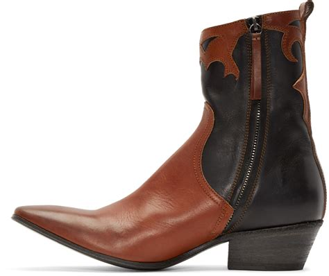 haider ackermann black brown western boots in black for