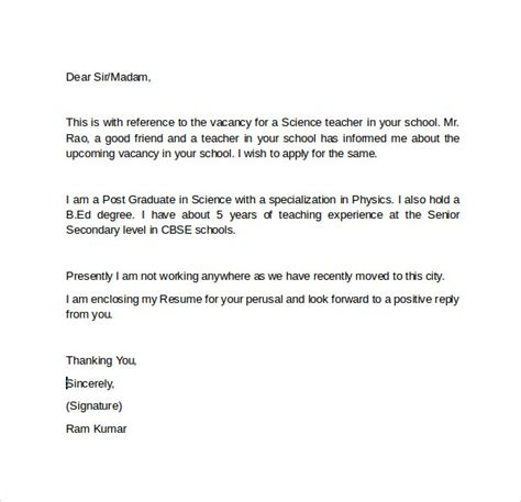 science cover letter exles resume for science teachers