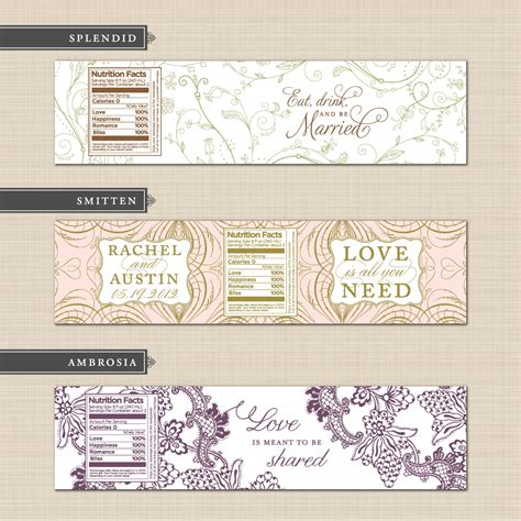 label designs templates diy printable custom wedding water bottle label design