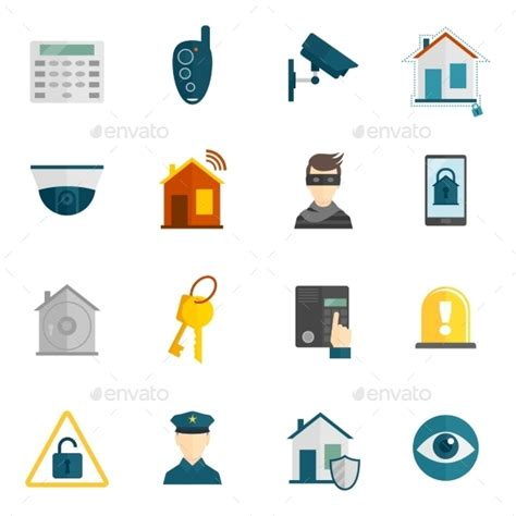 home security icon flat by macrovector graphicriver