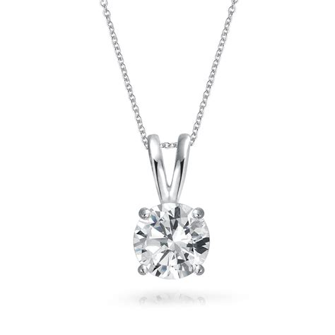 925 sterling silver 7mm solitaire cz pendant