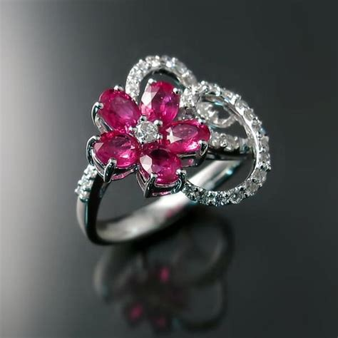 design flower ring ruby diamond ring flower design zoran designs jewelry