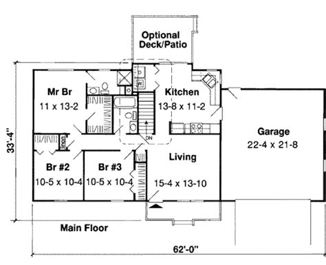 Narrow Lot House Plan ranch style house plan 3 beds 2 baths 1137 sq ft plan