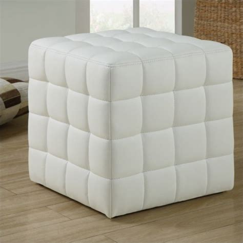 white faux leather ottoman faux leather ottoman in white i 8978