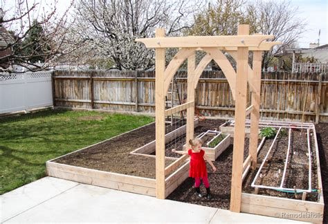 homemade wood desk backyard arbor remodelaholic 25 diy outdoor furniture and decor projects