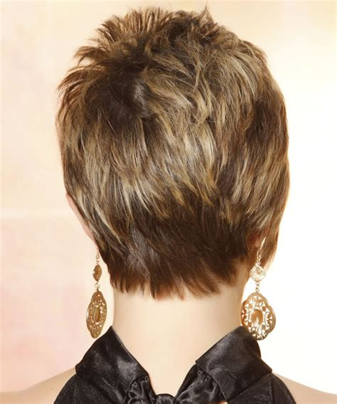 over 50 short hairstyle front and back views short straight casual hairstyle with side swept bangs