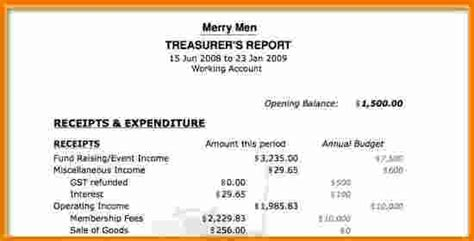non profit treasurer report template 8 treasurer s report template expense report