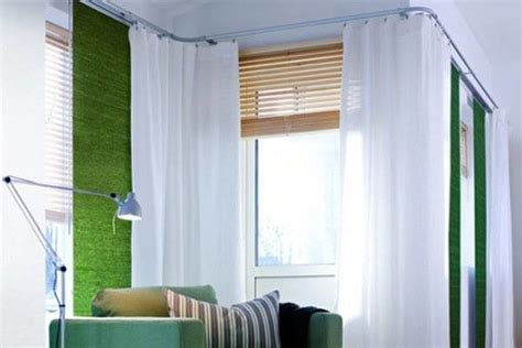 how to hang curtains around a corner corner window fashions bendable curtain rod modern