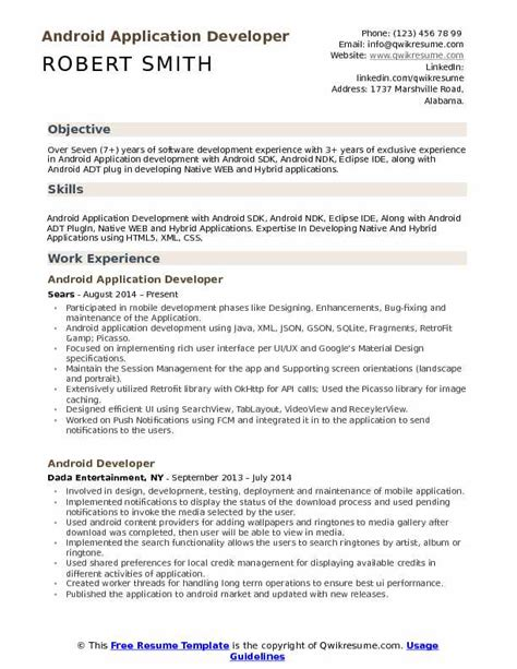 Android Developer Resume by Android Application Developer Resume Sles Qwikresume