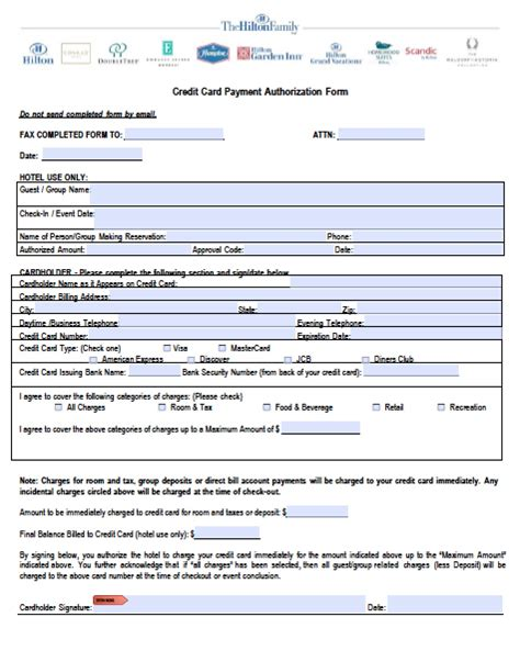 Authorization Letter For Credit Card Use In Hotel Credit Card Authorization Form Pdf Word
