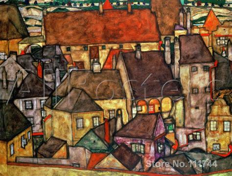 Handmade Paintings For Sale - abstract landscape paintings yellow city egon schiele