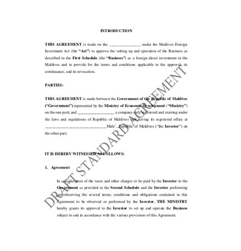 investor contract agreement template 14 investment agreement templates free sle exle