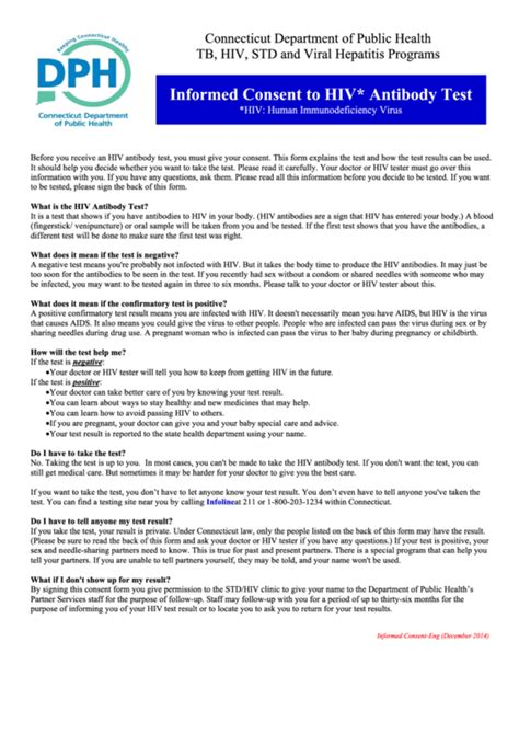 Informed Consent To Hiv Antibody Test Printable Pdf Download Hiv Consent Form Template