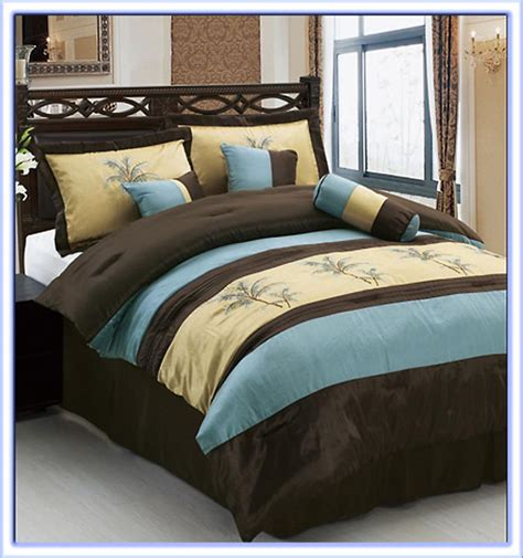 palm tree comforter sets queen 7 pcs luxury embroidery palm tree comforter set bed in a