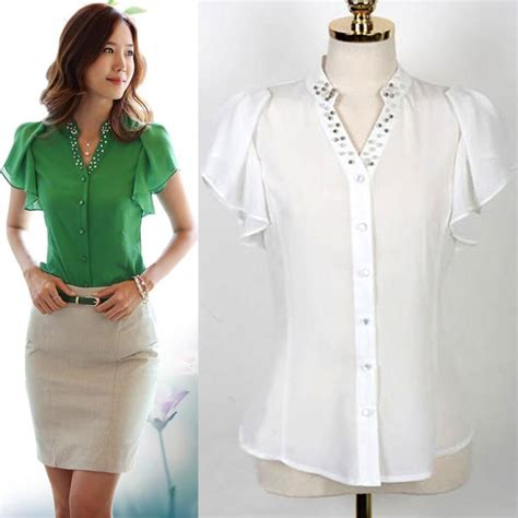White Retro Casual Top 30025 fashion white green blouses stylish casual