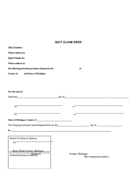 fillable quit claim deed form michigan printable