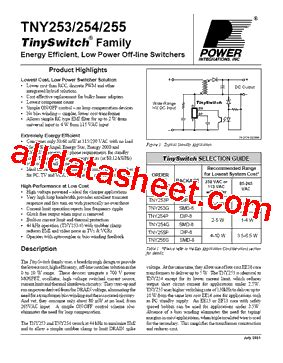 Ic Tny 253g tny253g datasheet pdf power integrations inc