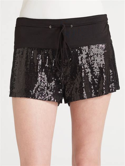beaded shorts erin kleinberg sequin shorts in black lyst