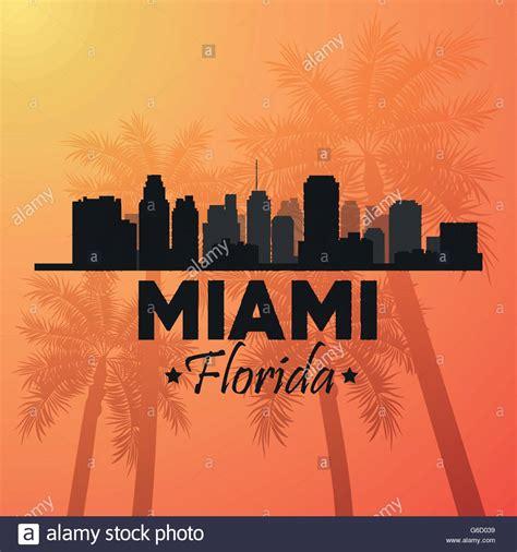 design graphics miami miami florida design palm tree and city icon vector