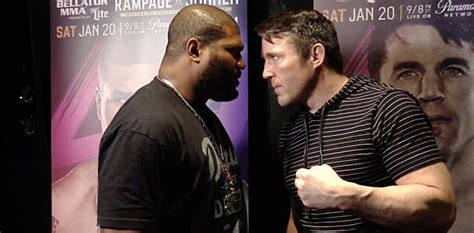 Rage Vs Chael Sonnen Rage Jackson Dwarfs Chael Sonnen On The Scale Bellator 192 Weigh In Results