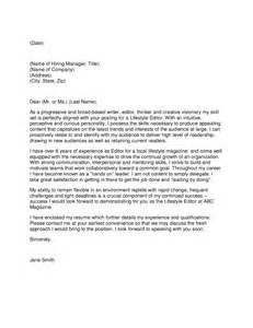 Writer Editor Cover Letter by Writer Cover Letter