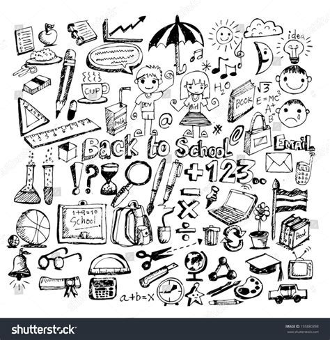 doodle academy drawings drawing school items back school vector stock vector