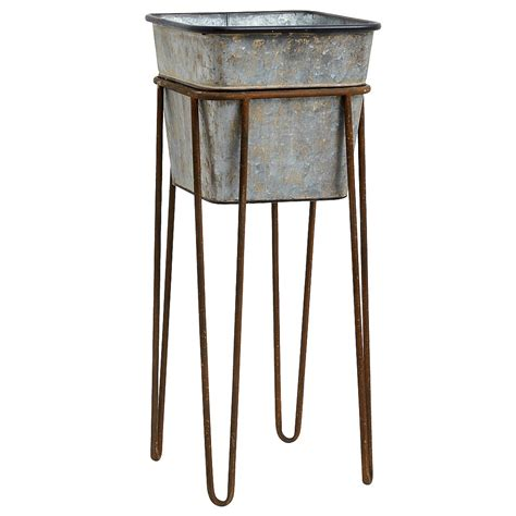 Zinc Effect Planter With Stand Audenza Planter With Stand