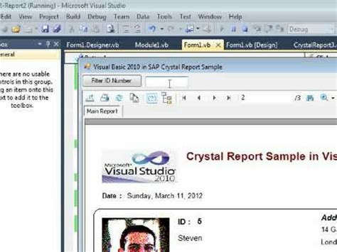 tutorial visual studio crystal reports call crystal report in visual basic 2010 with record