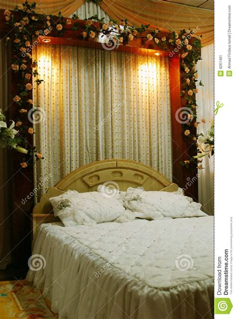 wedding bed decoration stock image image  banquet