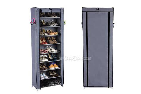 shoe storage towers songmics 10 tiers shoe rack shelf storage tower closet